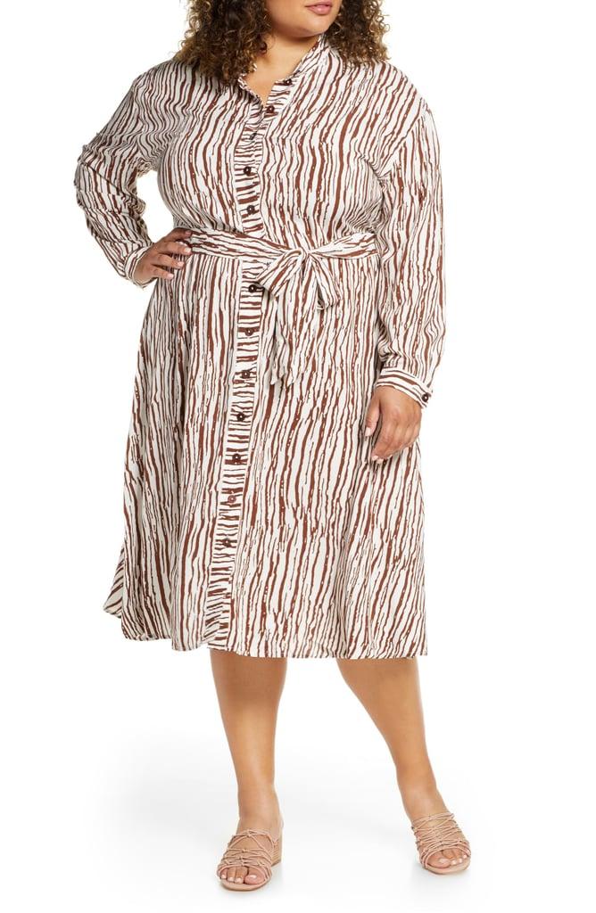 ELOQUII Opposting Stripes Long-Sleeve Shirtdress