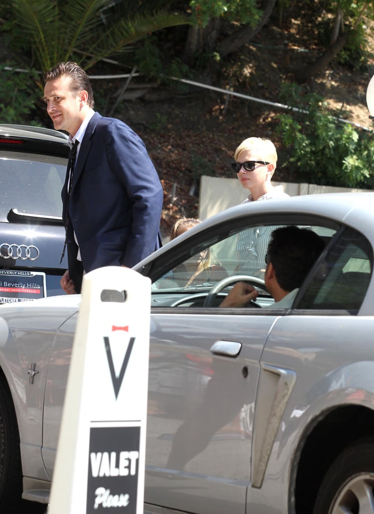 Michelle Williams and Jason Segel got out of a car together in LA.