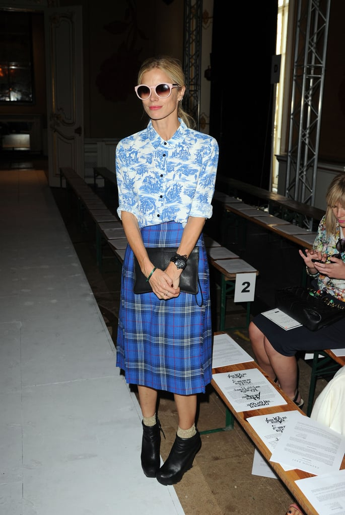 Laura Bailey showed off some blue hues and mixed prints on day two in London.
