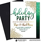 Green Ombre Holiday Party Invitation