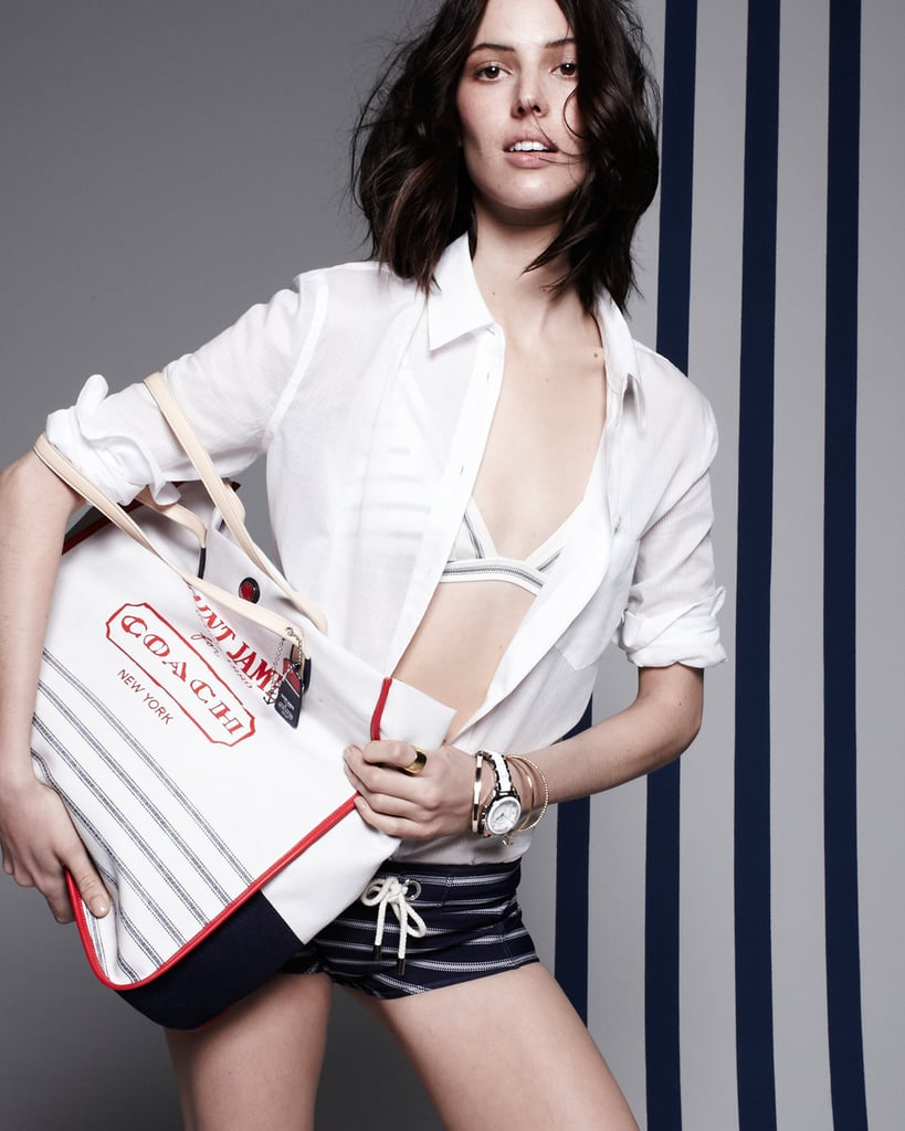 A cool shot of Ruby Aldridge, dressed in the Saint James for Coach Summer 2013 collaboration.