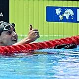 Katie Ledecky Celebrates After Winning the 800m