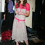 Katie Holmes was backstage at BCBG during their February 2005 show.