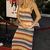 Rainbow bright: Sienna wore a colorful knit for a 2003 red carpet.