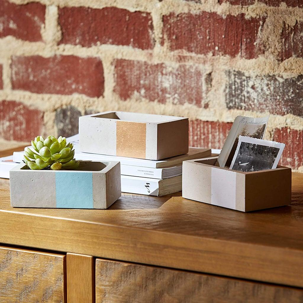 Rivet Urban Concrete Rectangle Gold Blue White Jewelry Boxes