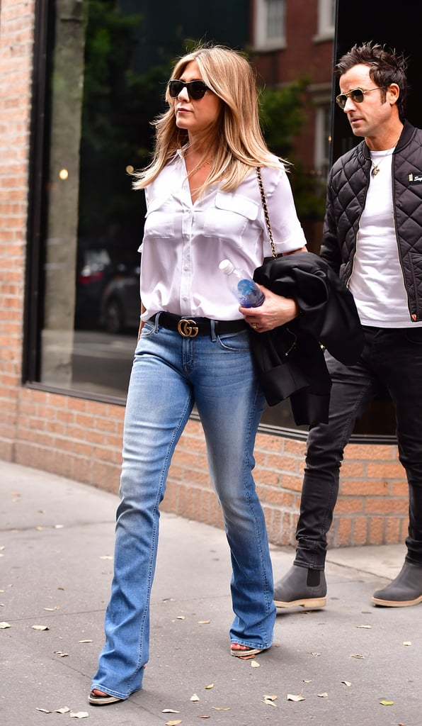 Jennifer Aniston White Button Down And Jeans September
