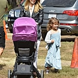 Jessica Alba took Honor and Haven to a pumpkin patch in LA.