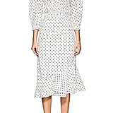 Saloni Grace Polka Dot Silk Midi Dress