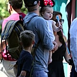 Harper Beckham got into the Disneyland spirit in a pair of ears with mom Victoria Beckham and dad David Beckham.