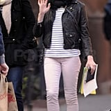 Michelle Williams wore pink pants in Brooklyn.