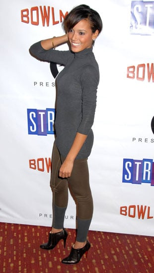Model Selita Ebanks Attends the Bowlmor Lanes 70th Anniversary in NYC in Brown Leggings