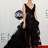 January Jones in a Black Zac Posen Dress at the Emmys 2012