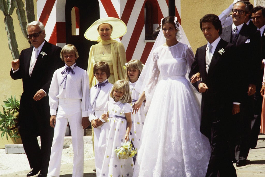 Princess Caroline of Monaco was surrounded by family, including her father, Prince Rainier III, during her June 1978 wedding, when she tied the knot with Philippe Junot.