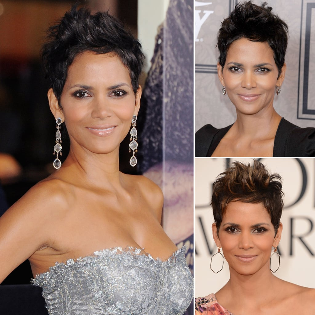 Who: Halle Berry The look: A wispy, piecey pixie cut Halle has been wearing her hair short on and off for years now, but her way of styling has stayed pretty much the same. Whether it's for a red carpet premiere or a day out with her daughter, Halle prefers a tousled, piecey top to her style with sides cut tight against the head.