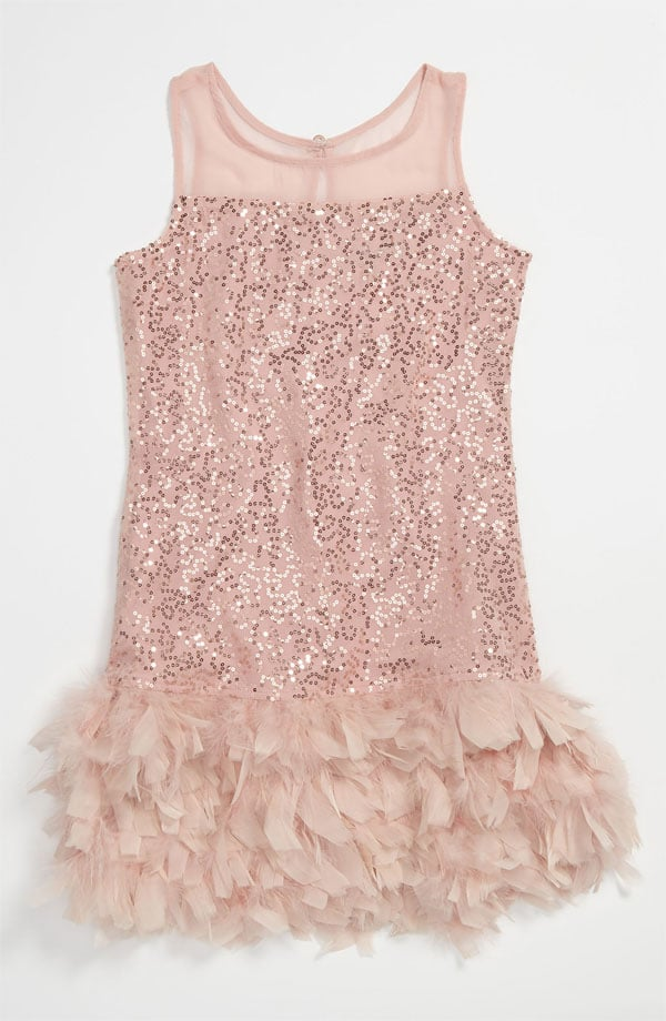 When would a dress with sparkles and tiers of feathers ($128) be more appropriate than an Oscar moment?