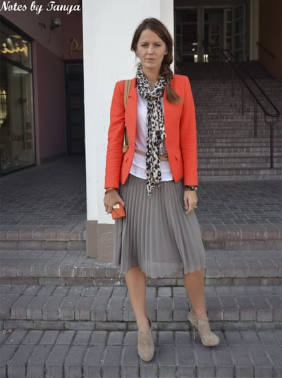 Gray, Coral and Pleated Skirt