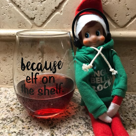 Funny Elf on the Shelf Wine Glasses