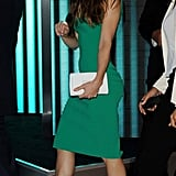 No curves left behind — Jessica Biel donned a sexy formfitting green sheath for the film's London afterparty. To keep the look sultry and sharp, she added a stark white clutch and leopard-print pumps.