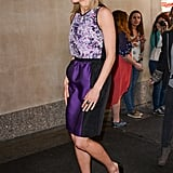 Forget orange — Taylor looked lovely in purple while promoting The Lucky One in April 2012.