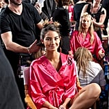 Lily Aldridge was backstage at the Victoria's Secret Fashion Show.