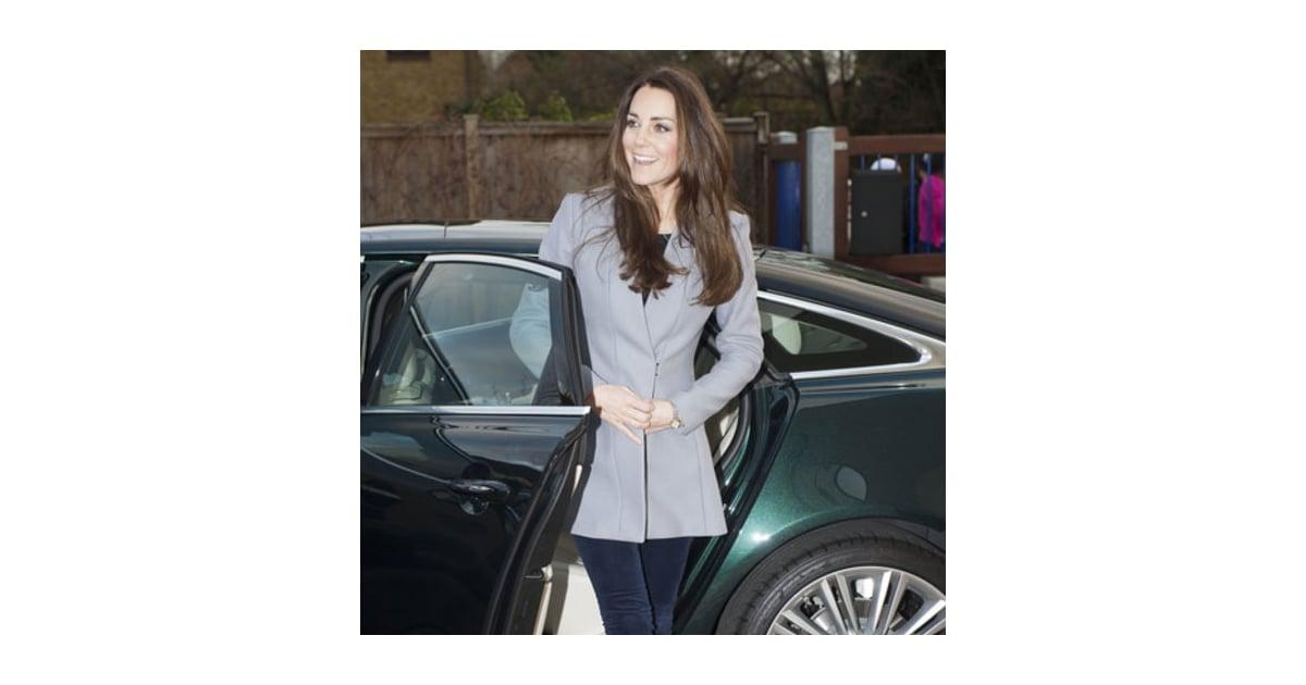 kate middleton gray coat popsugar fashion