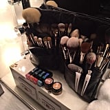 Here is a shot of Nguyen's pro brush collection.