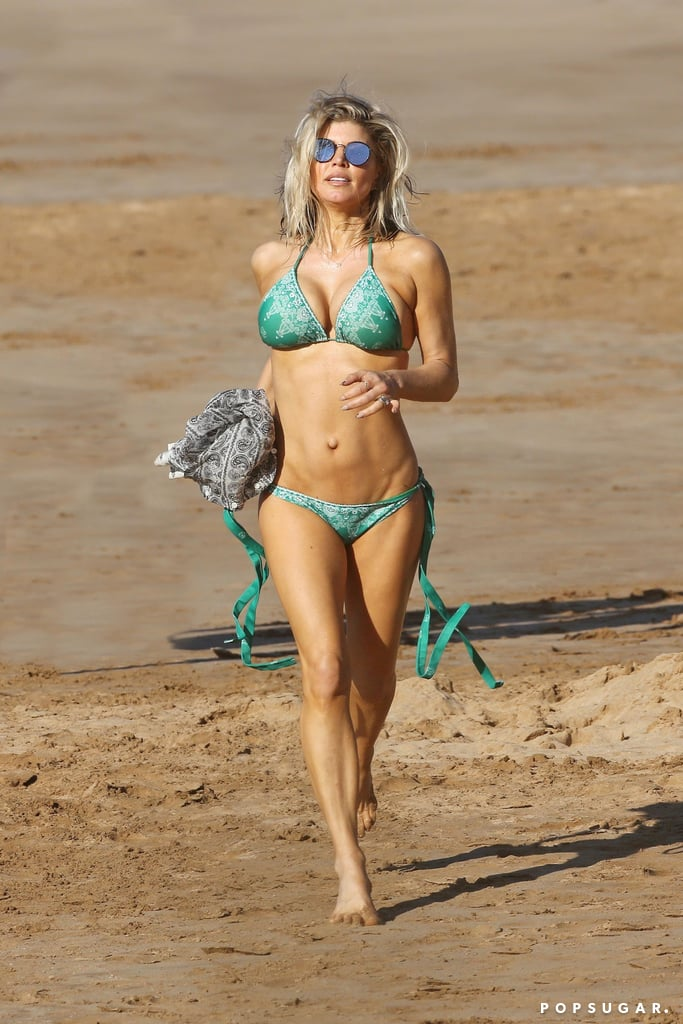 Fergie went for a run on the beach in Hawaii in January 2017.