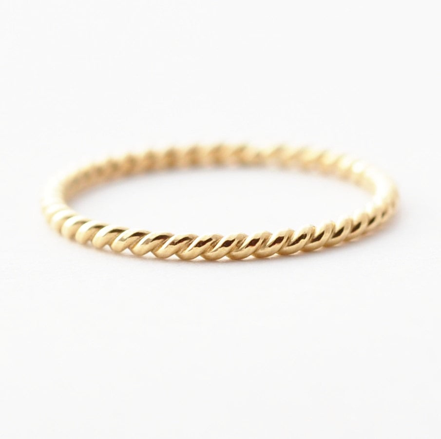 ring simple wedding promise bands traditional thin gold il solid band or market etsy