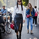 With a Leather Pencil Skirt and Functional Leather Boots, Like Giovanna Engelbert