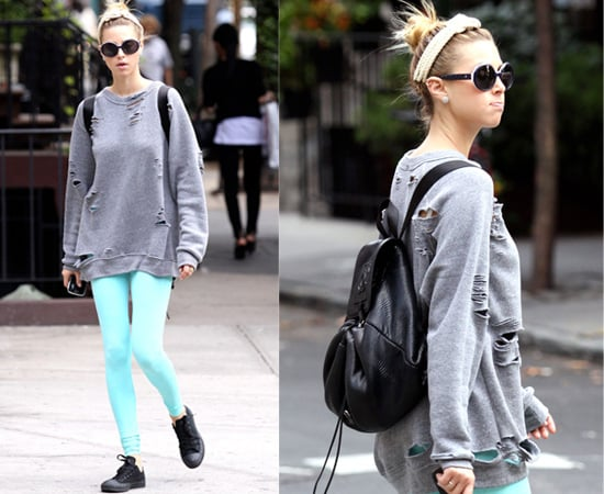 Whitney Port in Bright Leggings