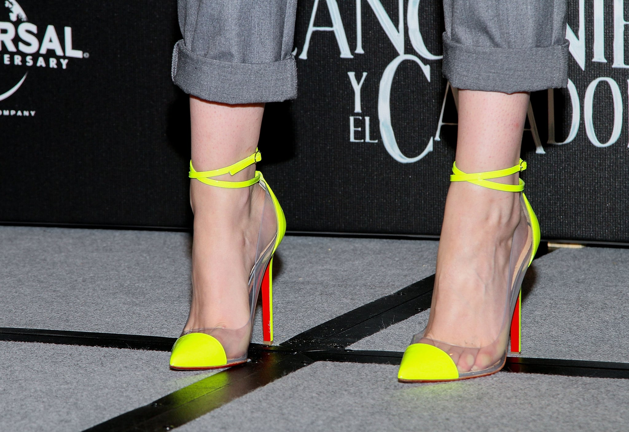 Her neon yellow and clear PVC-infused