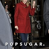 Taylor Swift stepped out in Paris while wearing a red coat.