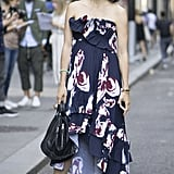 Pair a Strapless Printed Dress With Loafers