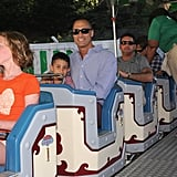 Nigel Barker rode the roller coaster with his son.
