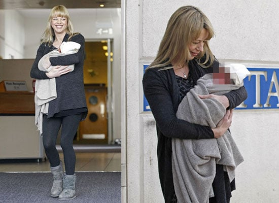 Photos Of Sara Cox And New Baby Girl Renee Leaving