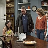 Molly Ephraim, Tim Allen, Nancy Travis, and Kaitlyn Dever in ABC's Last Man Standing.  Photo copyright 2011 ABC, Inc.