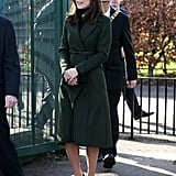 Kate slipped into her go-to suede court shoes.