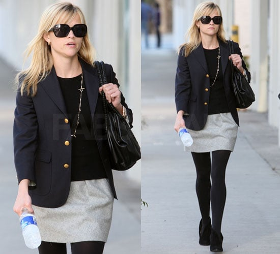 Photo of Reese Witherspoon in Blazer and Gray Skirt Shopping in Beverly Hills