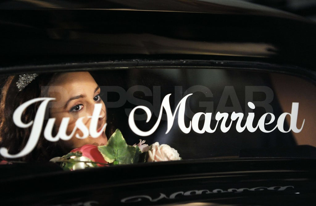 "Leighton gazed over the ""just married"" sign on the car."