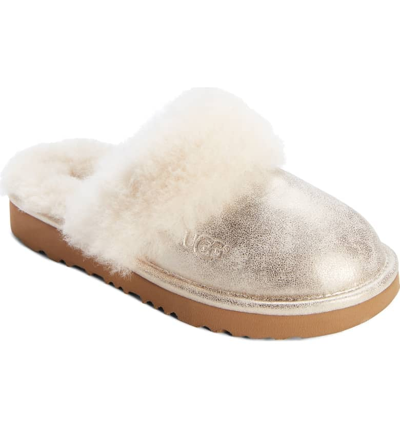 54cd2b6f338 UGG Cozy II Metallic Genuine Shearling Scuff Slipper