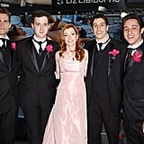 The American Wedding cast suited up for the Valentine's Day TRL episode in 2003.