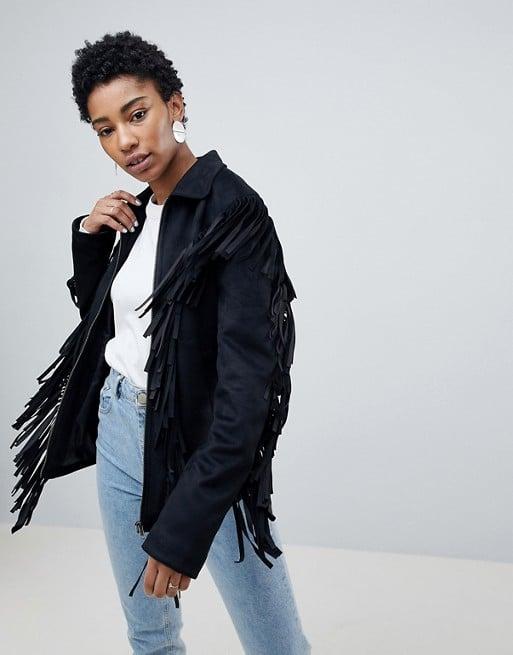ASOS Design Tall Fringe Suedette Jacket