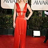 January Jones in Versace at the Golden Globe Awards