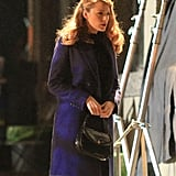 Blake Lively was covered up while filming scenes for her new movie, The Age of Adaline, in Vancouver, British Columbia, Canada, on Friday.