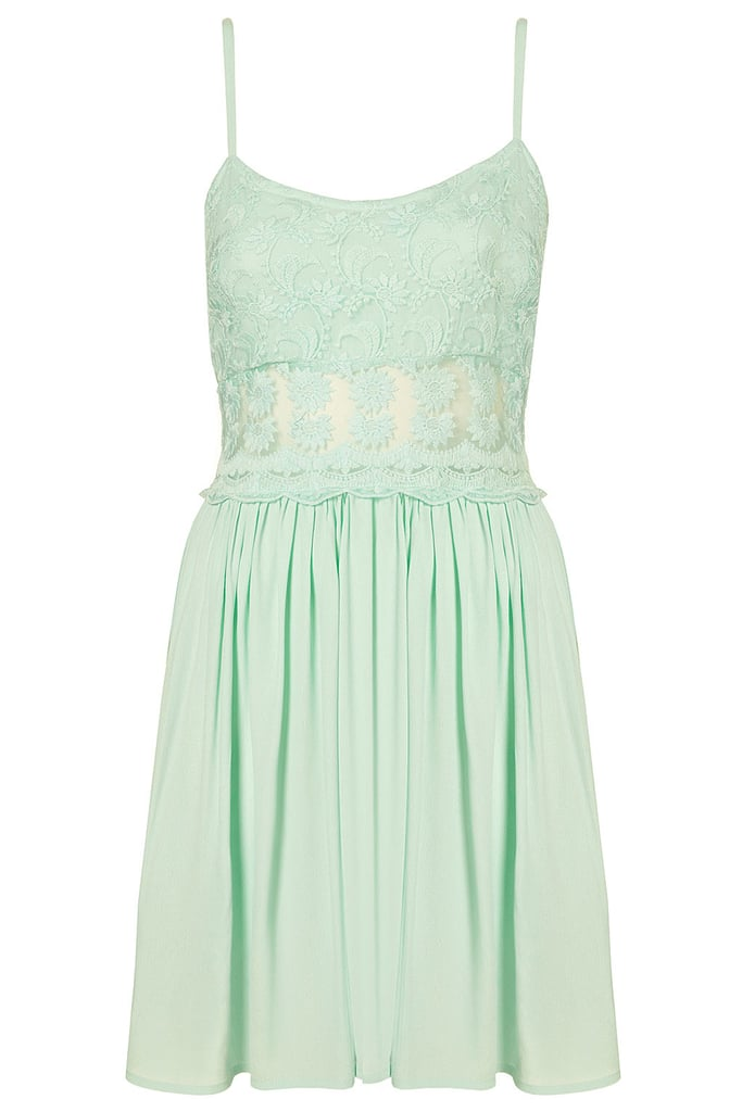 Score two of the season's trends with a lacy sundress in Spring's pretty mint green hue.  Topshop Lace Strappy Sundress ($65)