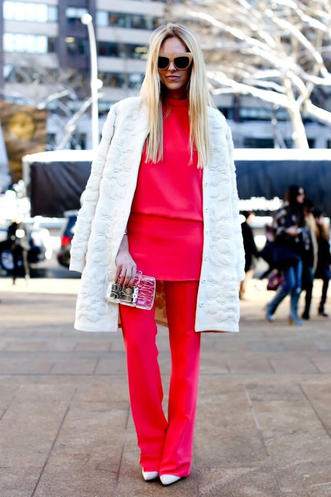 If you thought you couldn't make hot pink any brighter, try pairing it against a white coat to up the ante.