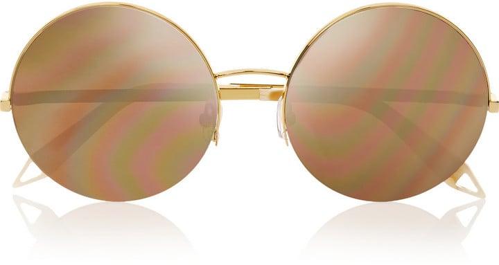 Victoria Beckham Supra Round-Frame Metal Mirrored Sunglasses ($950)