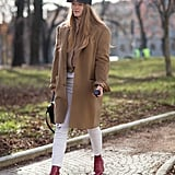 In a bright red hue to contrast white jeans.