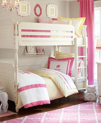 Pretty in pink ideas for shared kids rooms popsugar for Cute bunk bed rooms