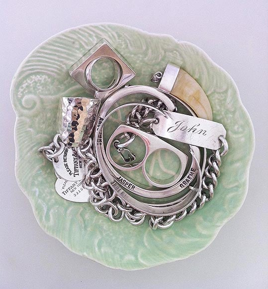 Pretty little trays are an easy way of keeping jewellery organised and at the same time, pretty to look at! These are a few of my most treasured silver pieces.
